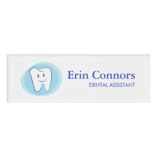 Dental Assistant Dentist Smiling Tooth Logo Name Tag