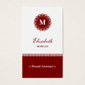Dental Assistant Elegant Red Lace Monogram Business Card