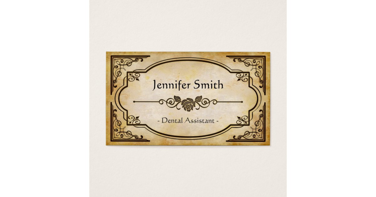 Dental Assistant - Elegant Vintage Antique Business Card | Zazzle.com