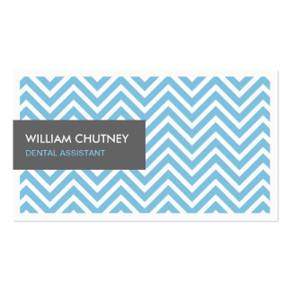 Dental Assistant - Light Blue Chevron Zigzag Business Card
