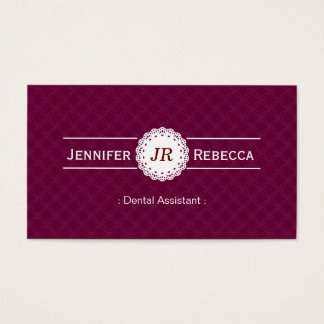 Dental Assistant - Modern Monogram Purple Business Card