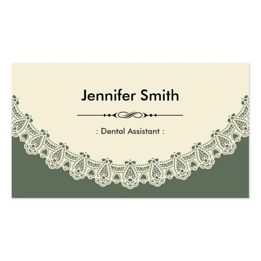 Dental Assistant - Retro Chic Lace Business Card Templates