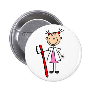 Dental Assistant With Toothbrush 2 Inch Round Button