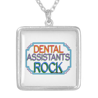 Dental Assistants Rock Silver Plated Necklace