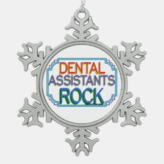 Dental Assistants Rock Snowflake Pewter Christmas Ornament