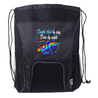 DENTAL ASST BY DAY, DIVA BY NIGHT DRAWSTRING BACKPACK