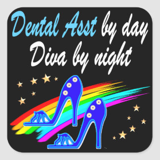 DENTAL ASST BY DAY, DIVA BY NIGHT SQUARE STICKER