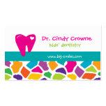 Dental Business Card Cute Giraffe Kids Pink