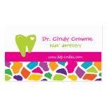 Dental Business Card Cute Giraffe Kids Pink Green