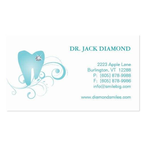 Dental Business Card Diamond Tooth Logo Blue 2