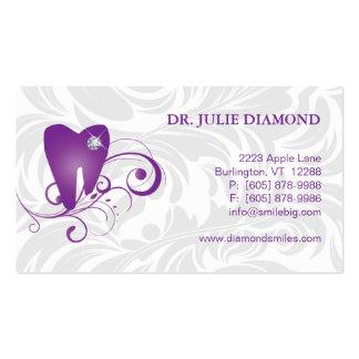 Dental Business Card Diamond Tooth Logo Purple 2