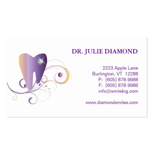 Dental Business Card Diamond Tooth Logo Purple Ylw
