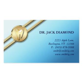 Dental Business Card Tooth Logo Gold Stripes Blue