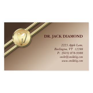 Dental Business Card Tooth Logo Gold Stripes Taupe