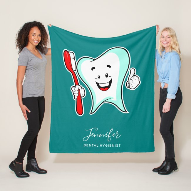 Dental Care Happy Tooth with Toothbrush Fleece Blanket
