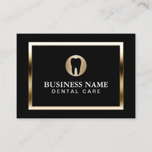 dental care modern gold border dentist business card - Dentist Business Card