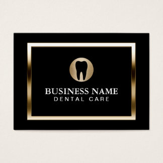 Dental Care Modern Gold Border Dentist Business Card