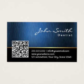 Dental Care Royal Blue QR Code Dentist Business Card