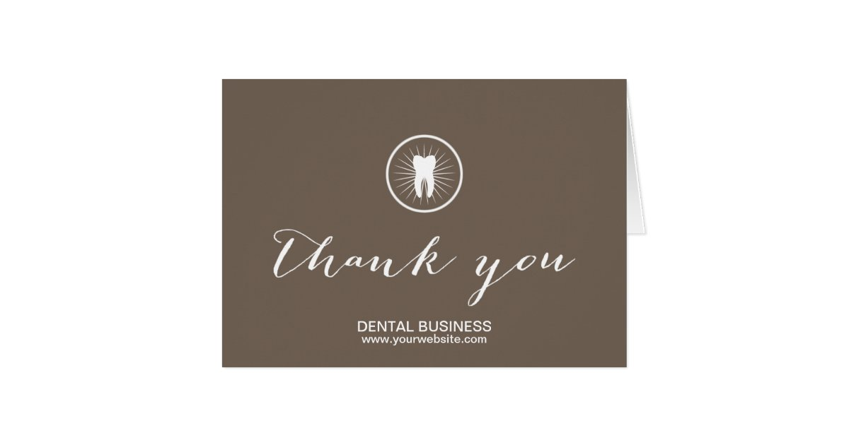 Dental Care Simple Tooth Icon Business Thank You Card Zazzle