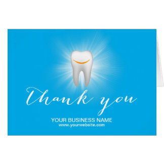Dental Care Smiling Tooth Plain Business Thank You Card