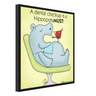 Dental Checkup Hippopotamus Canvas Print