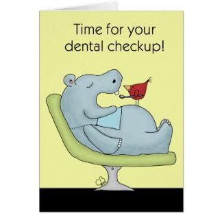 Dental Checkup Hippopotamus Card