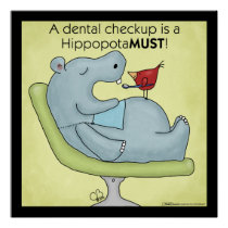 Dental Checkup Hippopotamus Poster