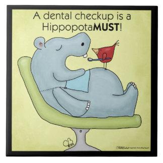 Dental Checkup Hippopotamus Tile