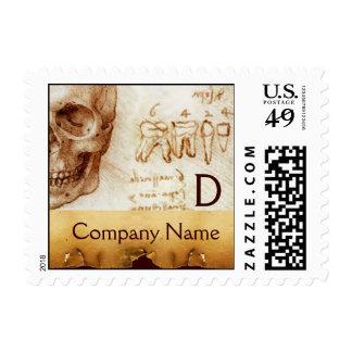DENTAL CLINIC ,DENTIST MONOGRAM ,Antique Parchment Stamp