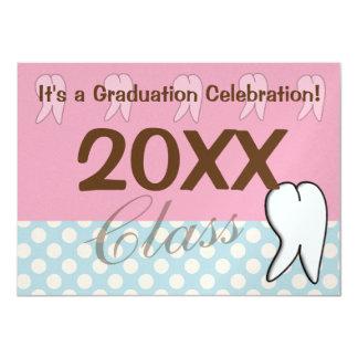 Dental Graduation Inviations Pink and Blue Card