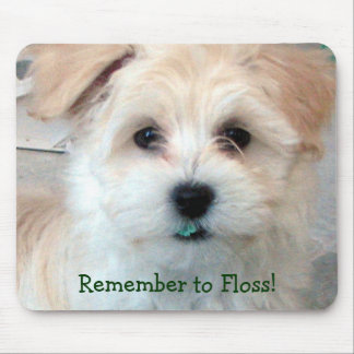 Dental Hygiene Puppy - Remember to Floss! Mouse Pad
