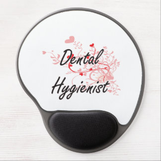 Dental Hygienist Artistic Job Design with Hearts Gel Mouse Pad