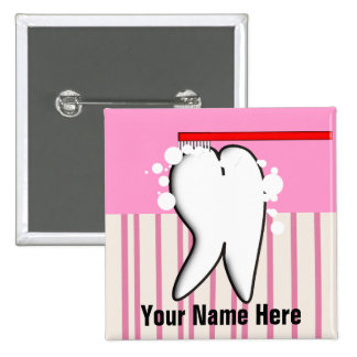 Dental Hygienist Big Tooth Name Badge 2 Inch Square Button