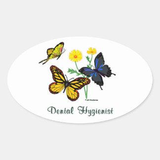 Dental Hygienist Butterflies Oval Sticker