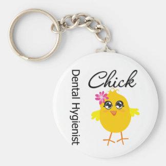 Dental Hygienist Chick v2 Basic Round Button Keychain