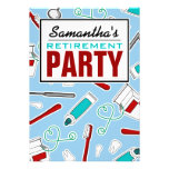Dental Hygienist / Dentist Retirement Party - Blue Personalized Announcements