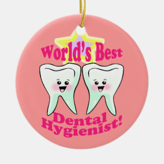 Dental Hygienist Double-Sided Ceramic Round Christmas Ornament
