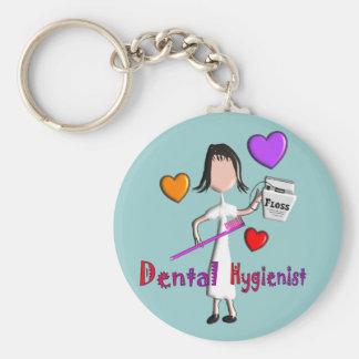 Dental Hygienist Gifts Adorable Hearts Design Basic Round Button Keychain