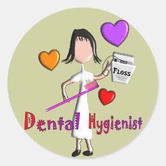Dental Hygienist Gifts Adorable Hearts Design Round Sticker