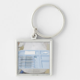 Dental hygienist  holding tray of dental keychain