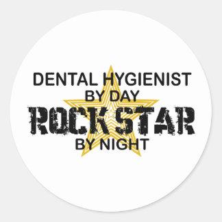 Dental Hygienist Rock Star Classic Round Sticker