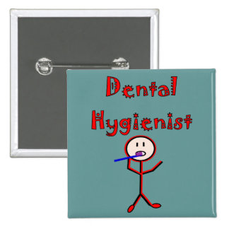 Dental Hygienist Stick Person With Toothbrush Pinback Button