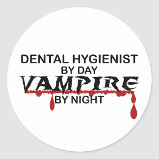 Dental Hygienist Vampire by Night Classic Round Sticker