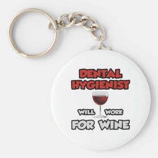 Dental Hygienist ... Will Work For Wine Basic Round Button Keychain
