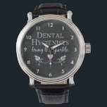 "Dental Hygienists Sparkle Watch<br><div class=""desc"">&quot;Dental Hygienists bring the sparkle&quot; and oh my,  yes they do! Not only do you make teeth shine,  you making visits to the dentists office a pleasure.  This chalkboard style dental hygienist design with a sweet pink heart makes a great gift.</div>"