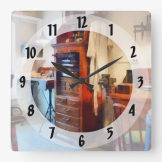 Dental Lab WithLab Coat Square Wall Clock