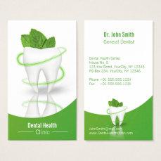 Dental Medical Mint Leaf Tooth - Business Card