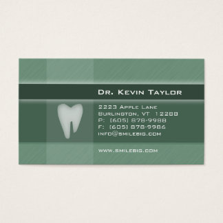 Dental Molar Business Card Denim green stripes