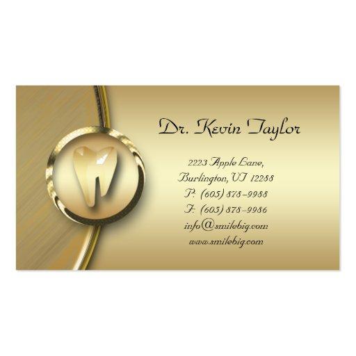 Dental Molar Business Card Gold Metal