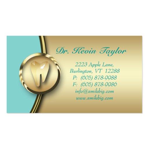 Dental Molar Business Card Gold Metal Blue 2
